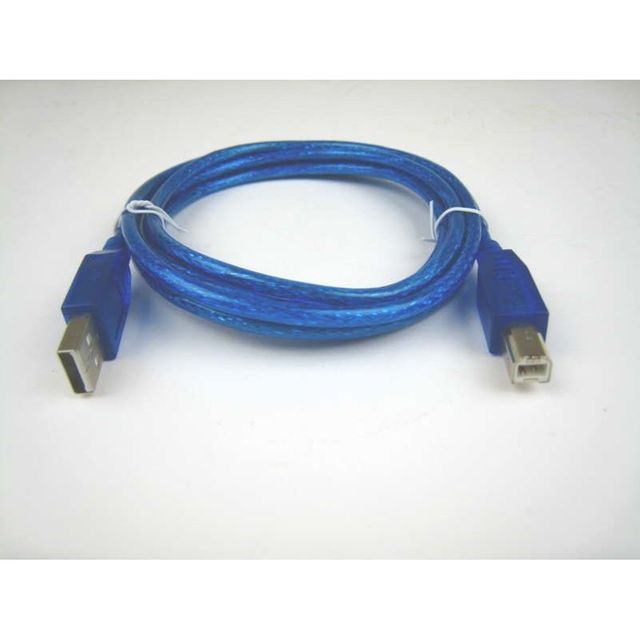 USB-Kabel 2.0 blau-transparent A auf B 1,8m