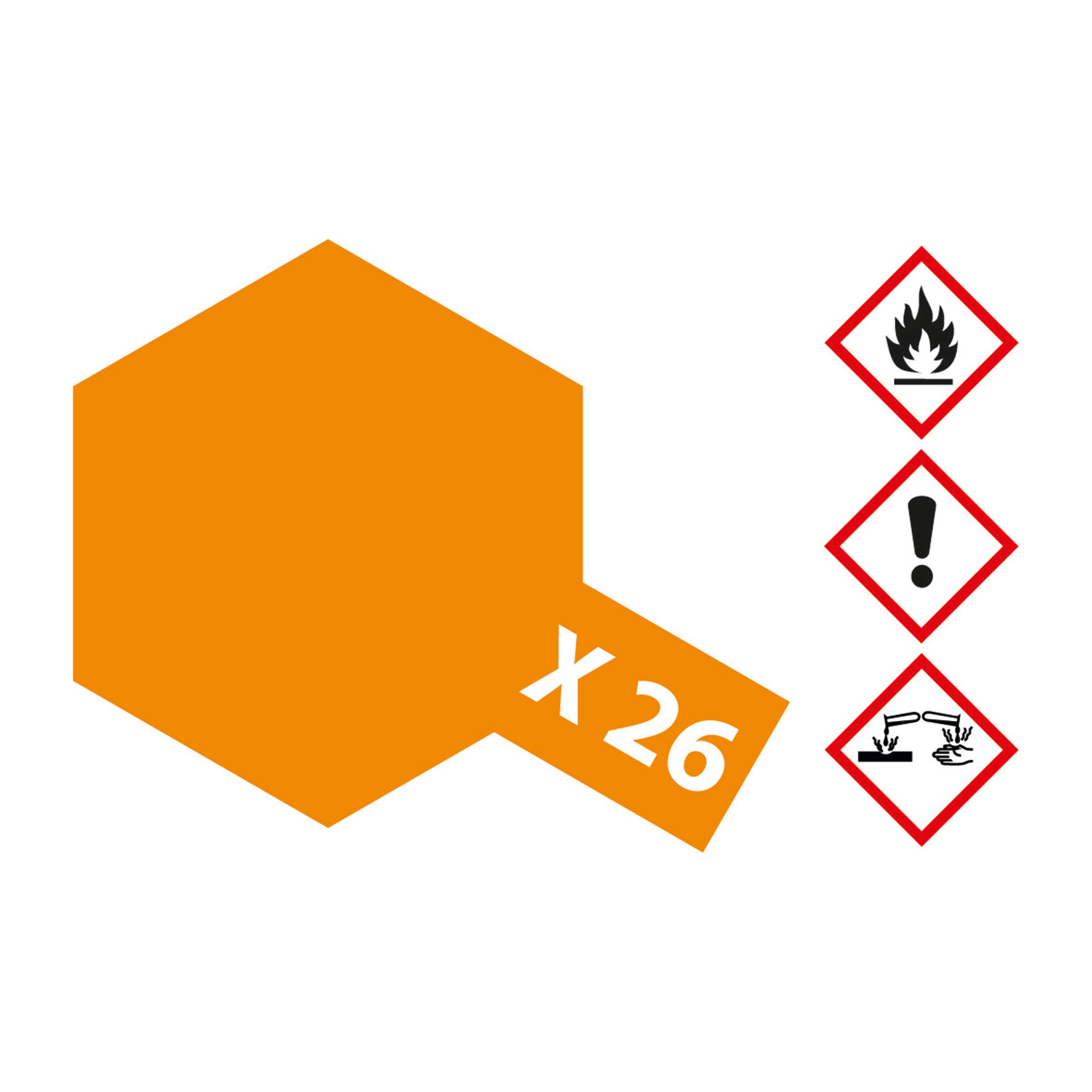X-26 Klar Orange glaenzend - 23ml Acrylstreichfarbe wasserlöslich Tamiya 300081026