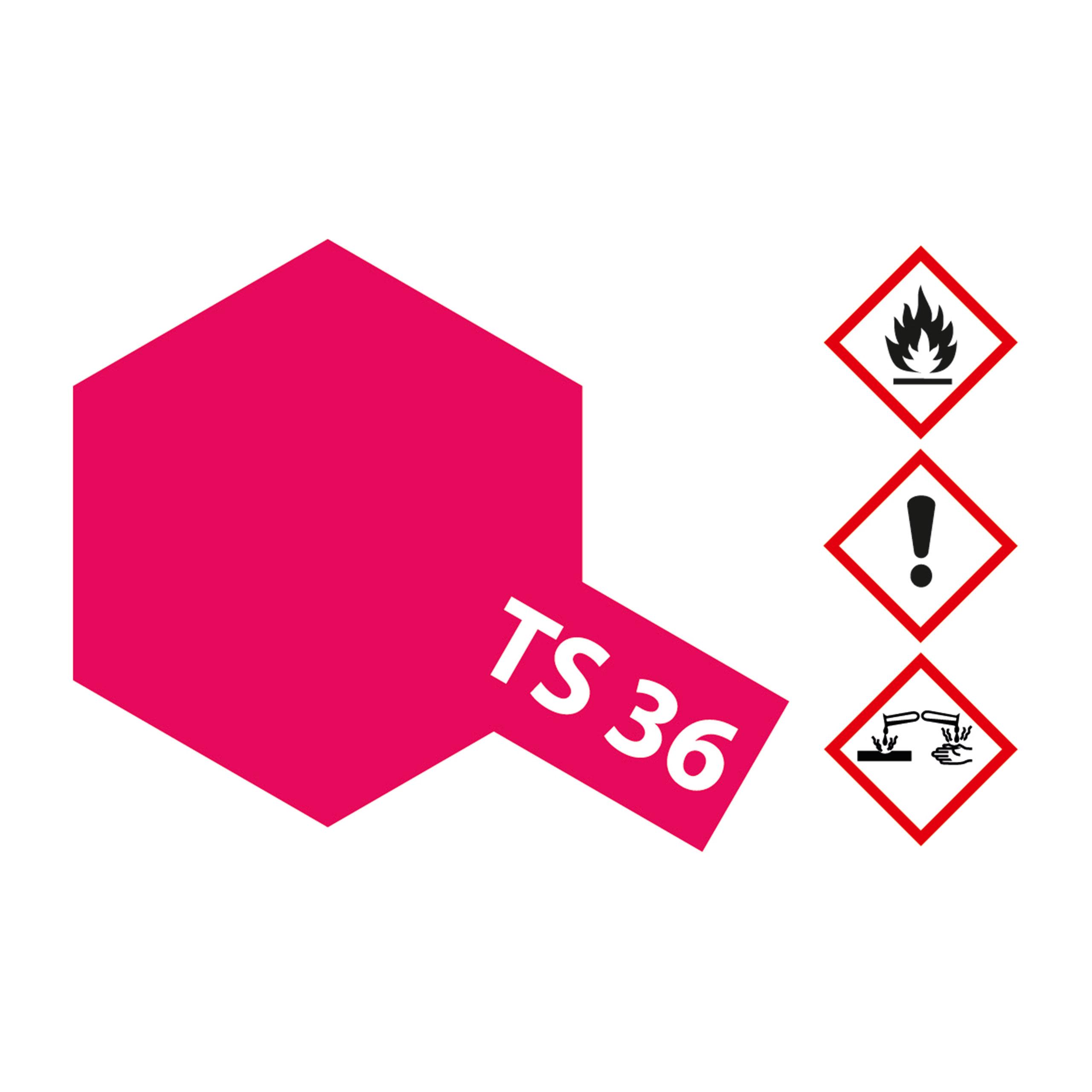 TS-36 Neon-Rot glaenzend - 100ml Sprayfarbe Kunstharz Tamiya 300085036