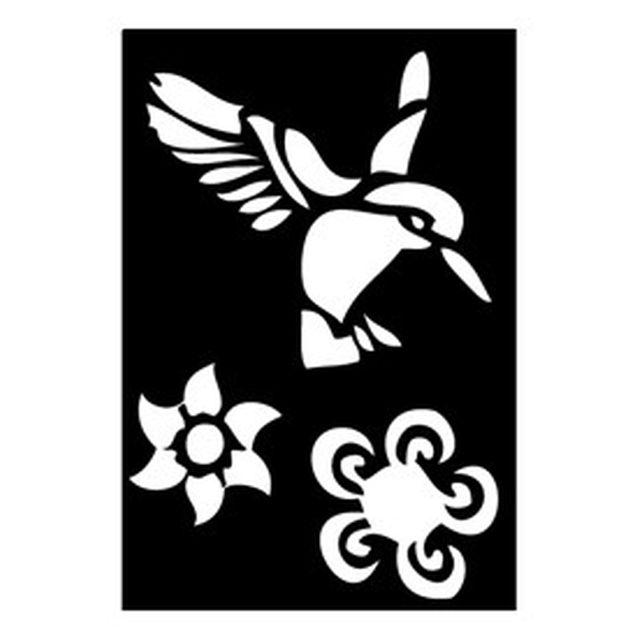 Tattoo Schablone Kolibri und Blume 263 009