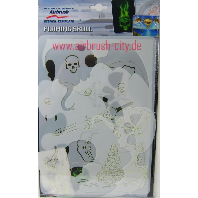 Airbrush Stencil Templates Flaming Skull 410136 Harder & Steenbeck