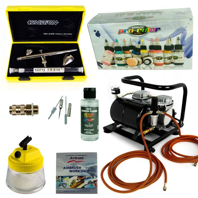 Modellbau Airbrush Set - Evolution Silverline Two in One + Sparmax AC-500 Kompressor - Kit 9002