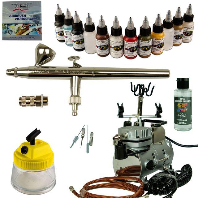 Modellbau Airbrush Set - Ultra Airbrushpistole + Saturn 25 Kompressor - Kit 9007