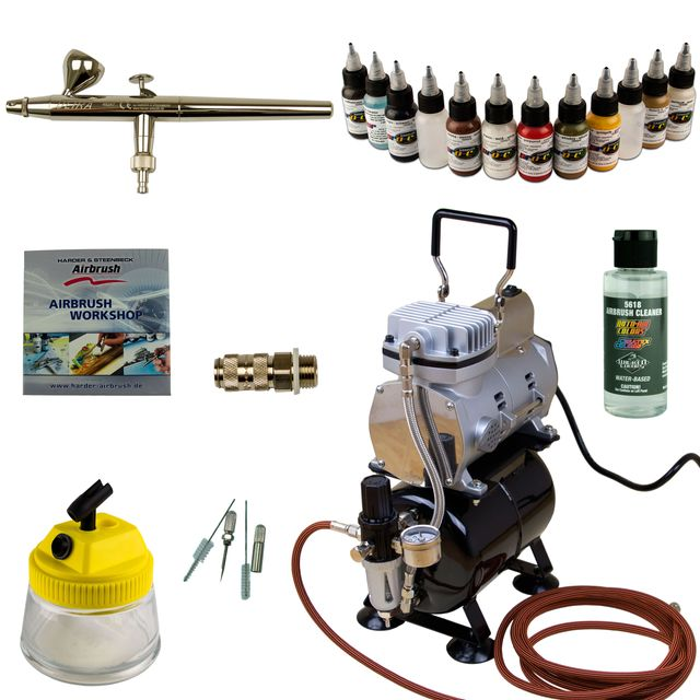 Modellbau Airbrush Set - Ultra Airbrushpistole - Sparmax TC-610H-n Kompressor - Kit 9009