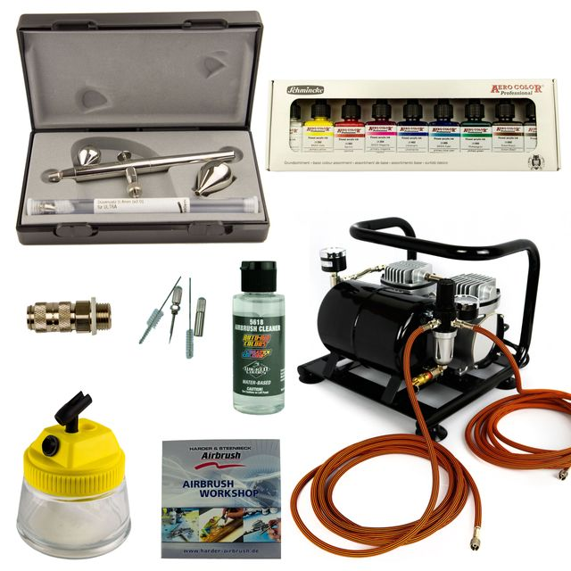 Airbrush Set Custom-Painting - Ultra Two in One + Sparmax AC-500 Kompressor - Kit 9305