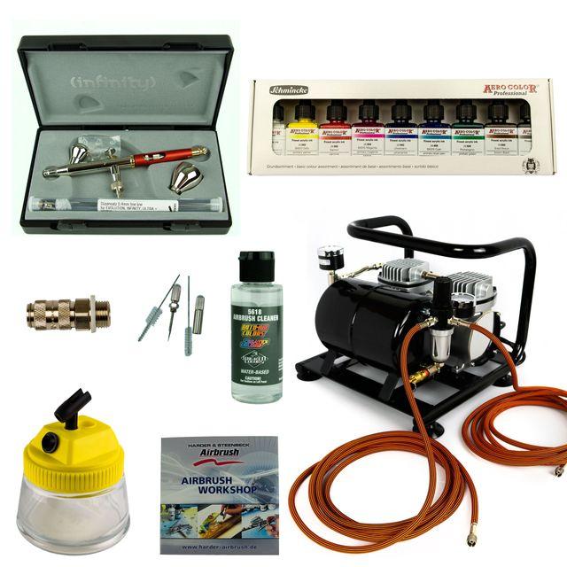 Custom-Painting Airbrush Set - Infinity Two in One + Sparmax AC-500 Kompressor - Kit 9310
