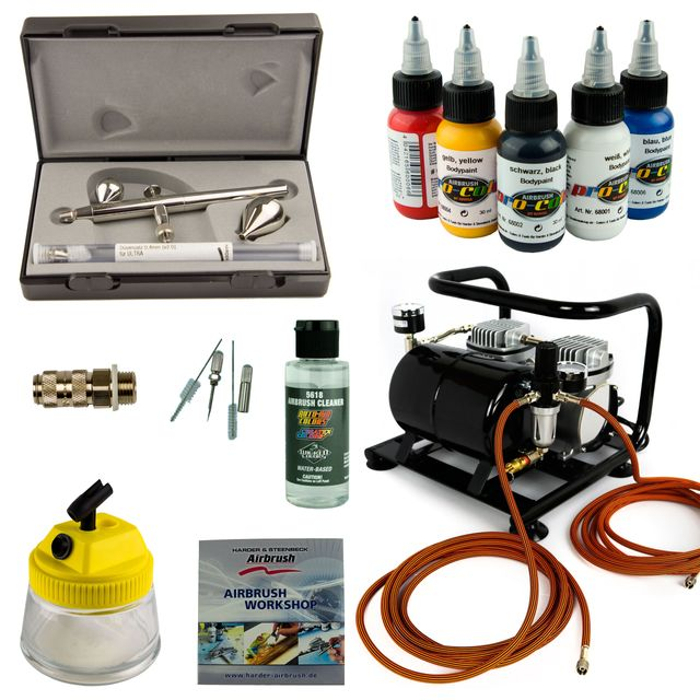 Airbrush Set Body-Painting - Ultra Two in One + Sparmax AC-500 Kompressor - Kit 9405