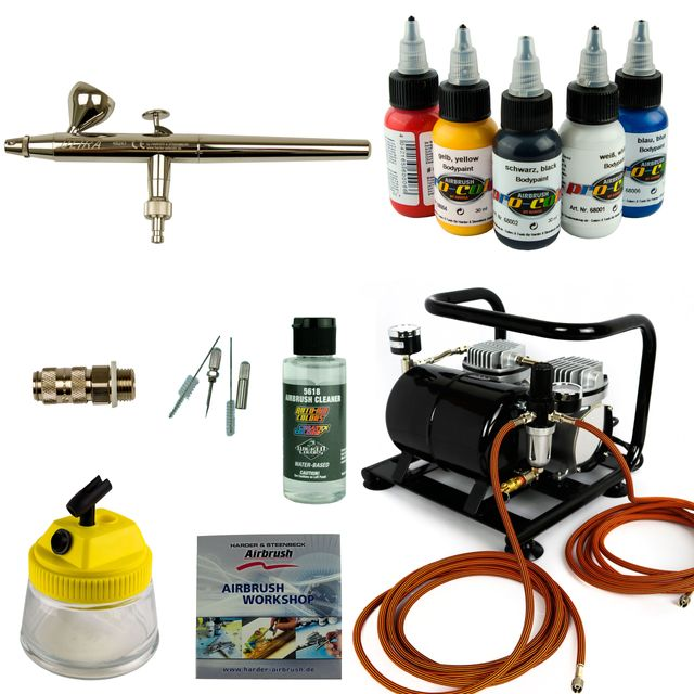 Airbrush Set Body Painting - Ultra 0,2 Airbrushpistole + Sparmax AC-500 Kompressor - Kit 9408