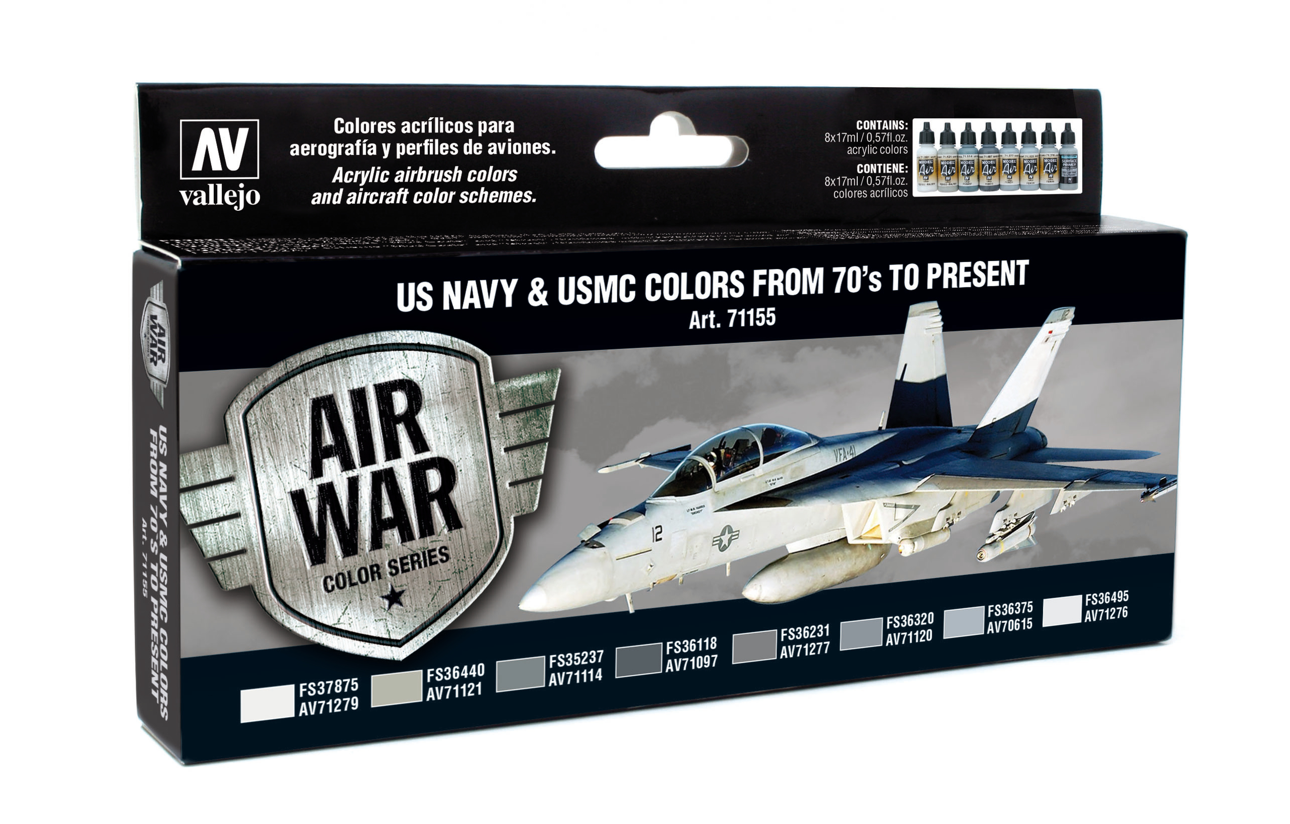 Vallejo Model Air US NAVY & USMC Colors from 70's to present Set Airbrush Farbe 8x17ml