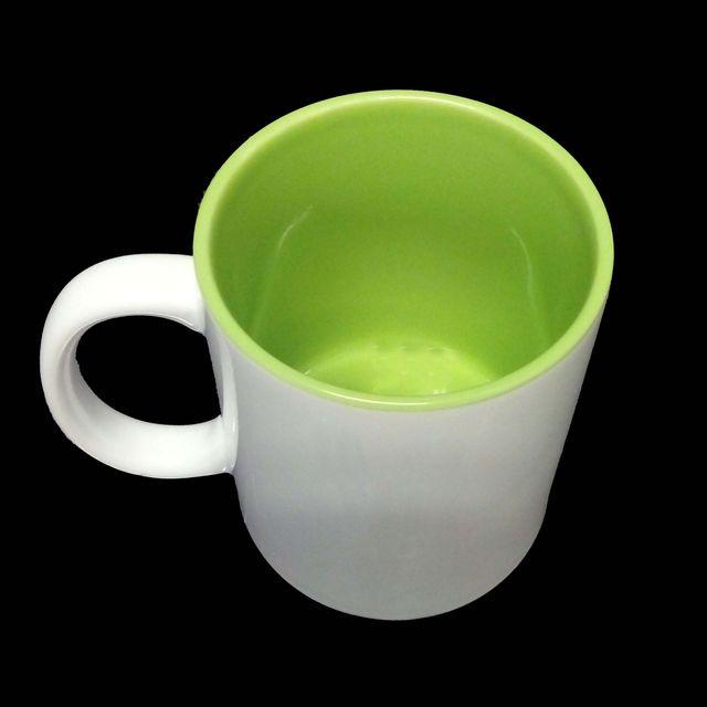 Sublimation Kaffee Tasse Becher WEISS - INNEN GRÜN