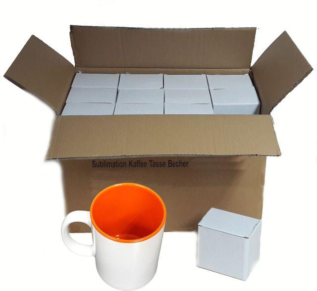 36 Stück Fototasse Sublimation Kaffee Tassen Becher WEISS - INNEN Orange