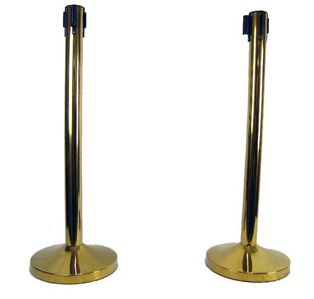2x Absperrpfosten Absperrständer Gold mit Gurt - Band Personenleitsystem Abgrenzungsständer