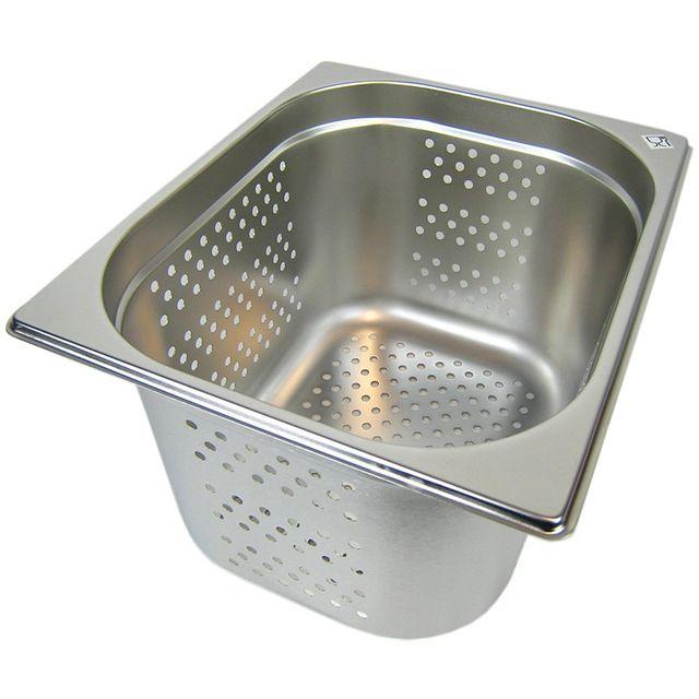 GN 1/2 Gastronormbehälter GN-Behälter Edelstahl 12,5 Liter Tiefe 200mm GELOCHT