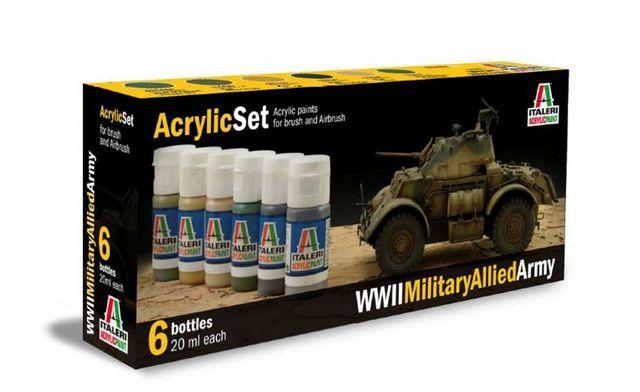 Italeri Acryl-Farbset 6x 20ml WWII Military Allied Army  510000440
