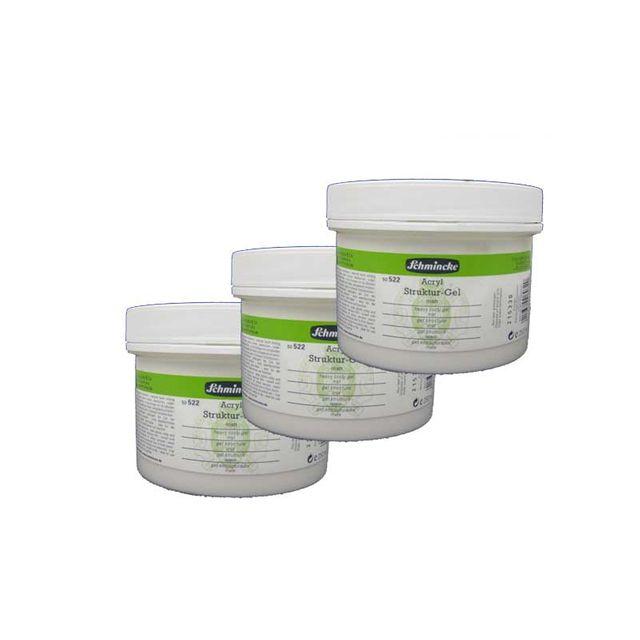 3x Schmincke 250ml Hilfsmittel Struktur-Gel matt Acryl  50 522 048