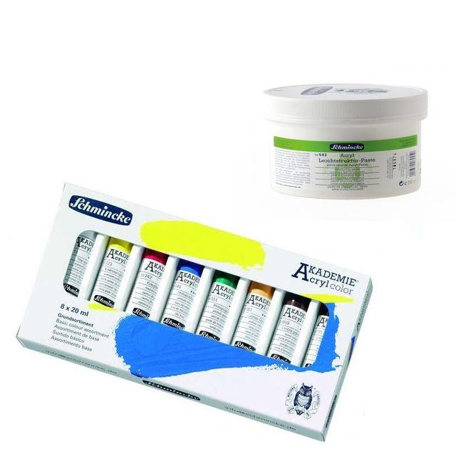 Schmincke Acryl Farben Set 8 Tuben a 20 ml + Leichtstruktur-Paste Aktion