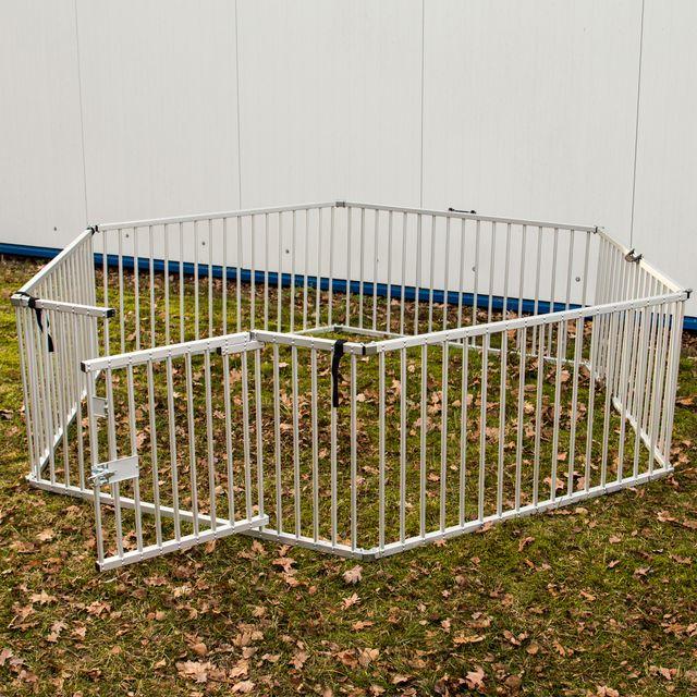 Laufstall Freigehege Laufgitter aus Aluminum für Haustiere sechseck klappbar Zwinger