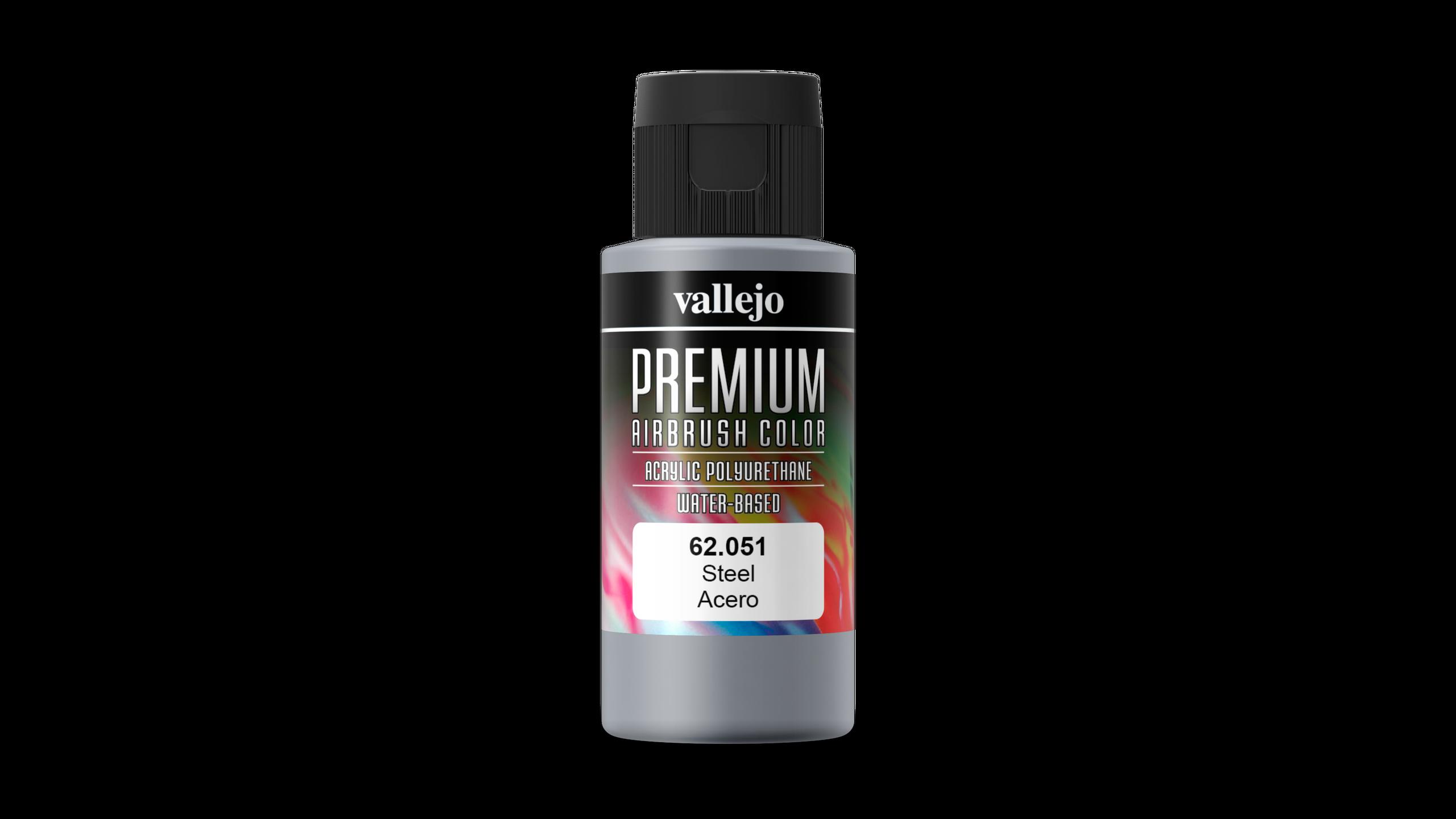 Premium Color Pearl & Metallics Vallejo 62051 Steel 60ml Airbrush Farbe