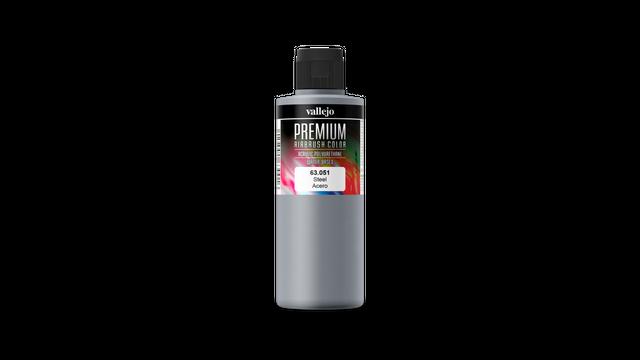 Premium Color Pearl & Metallics Vallejo 63051 Steel 200ml Airbrush Farbe