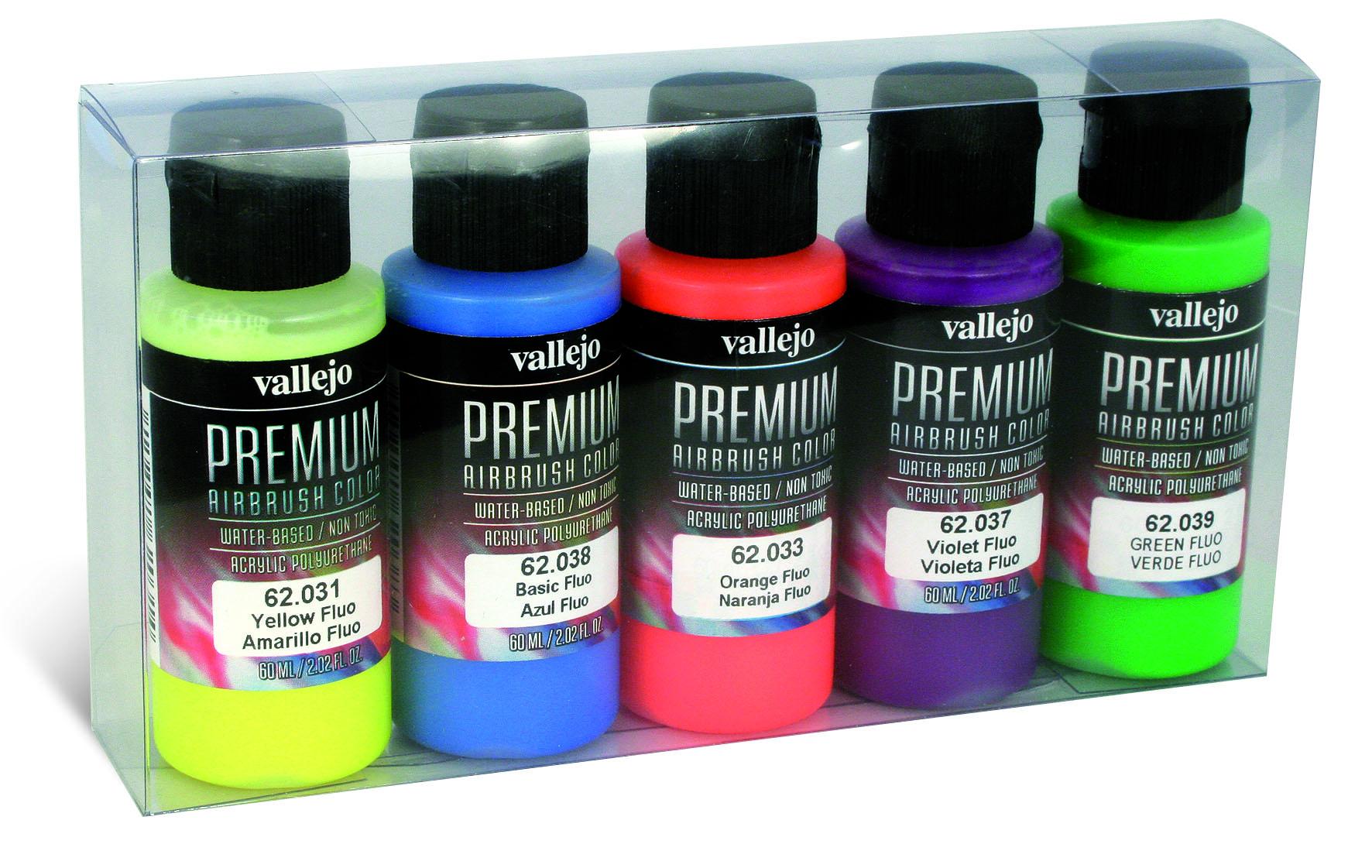 Premium Color 5 Color Set Vallejo 62102 Premium Fluo Color 5x 60ml Airbrush Farbe