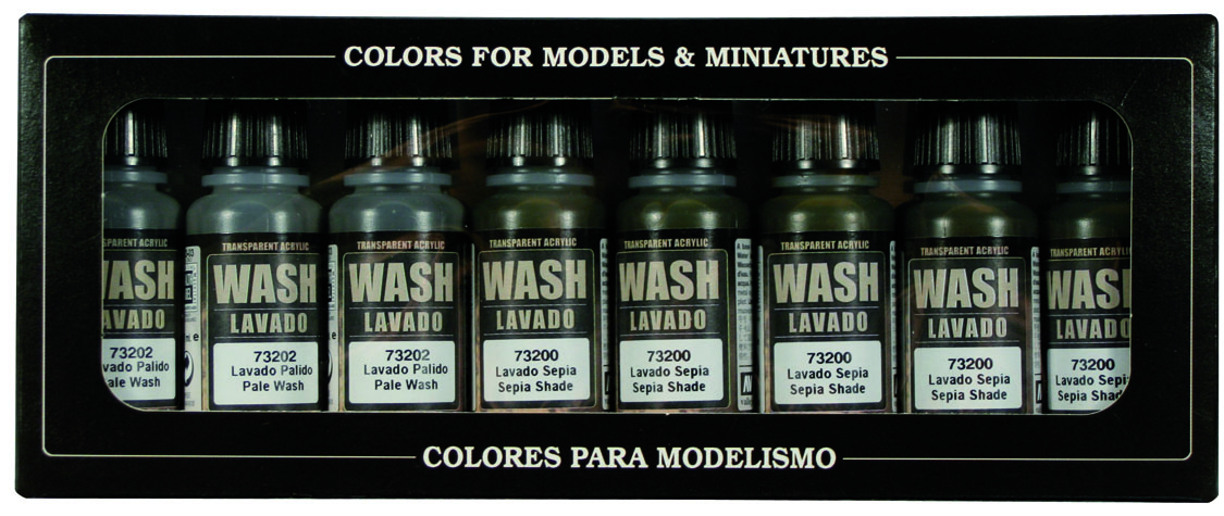 Game Color Set Vallejo Washes 8x 17ml 73998 Farbenset