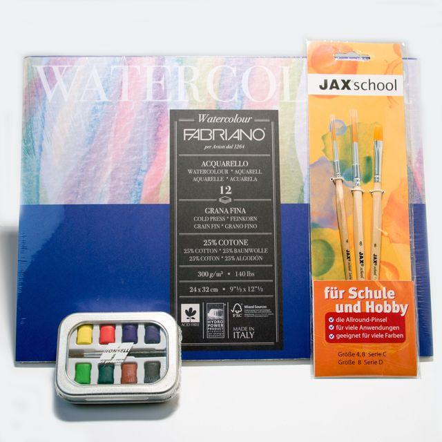 Aquarell Malset Fabriano Block + Pinselset + Aquarellkasten Künstlerbedarf