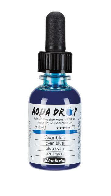 Schmincke Aqua Drop Aquarell Cyanblau 30ml 24480034 Airbrush Illustration