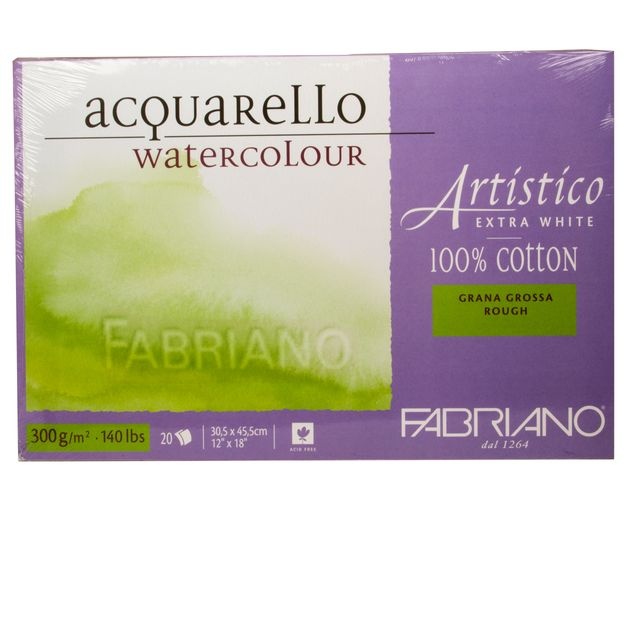 Aquarell Block Fabriano Artistico 300g Papier 30,5 x 45,5 cm Baumwolle extra weiss