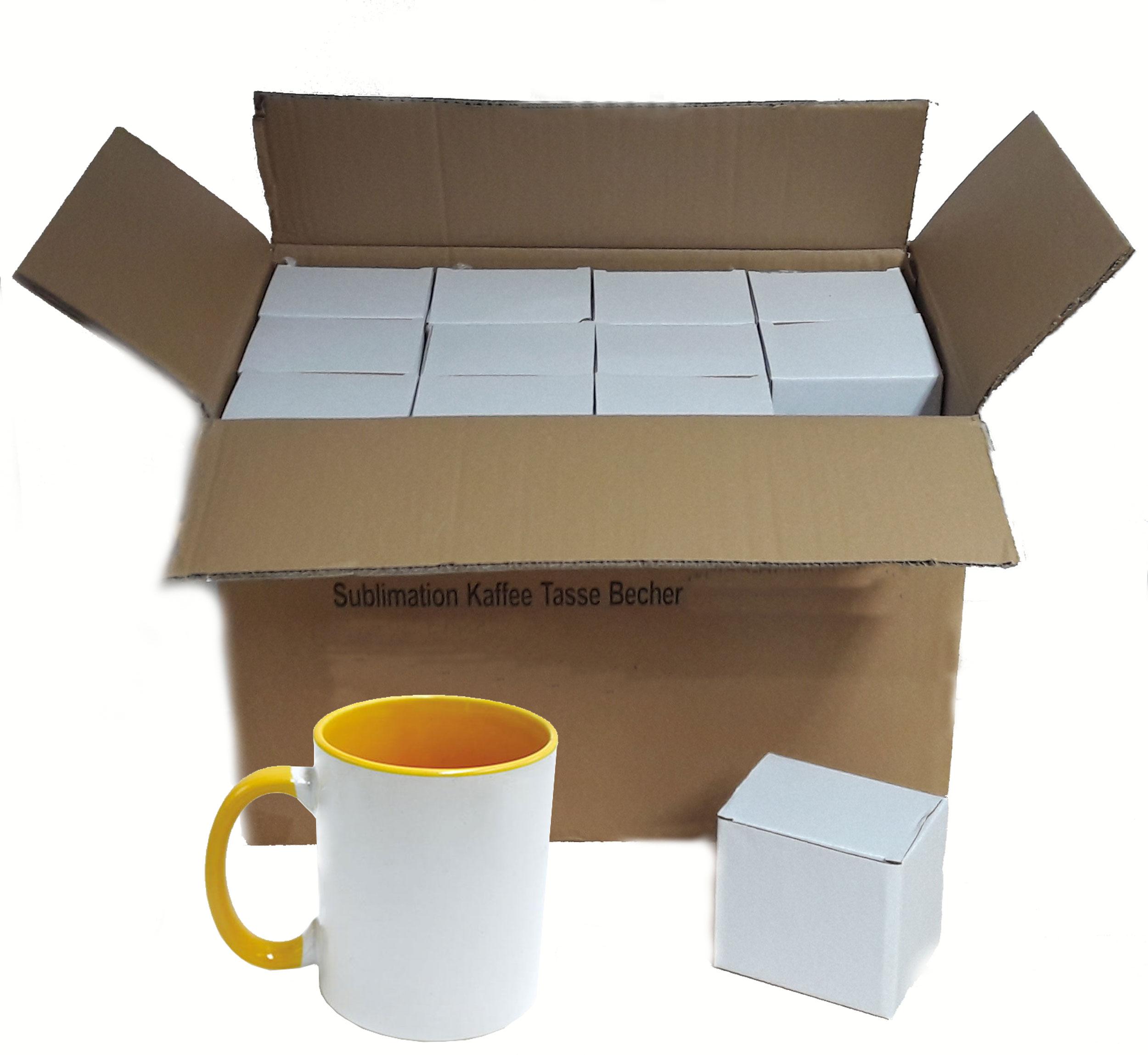 36 Stück Fototasse Sublimation Kaffee Tassen Becher WEISS - HENKEL Gelb
