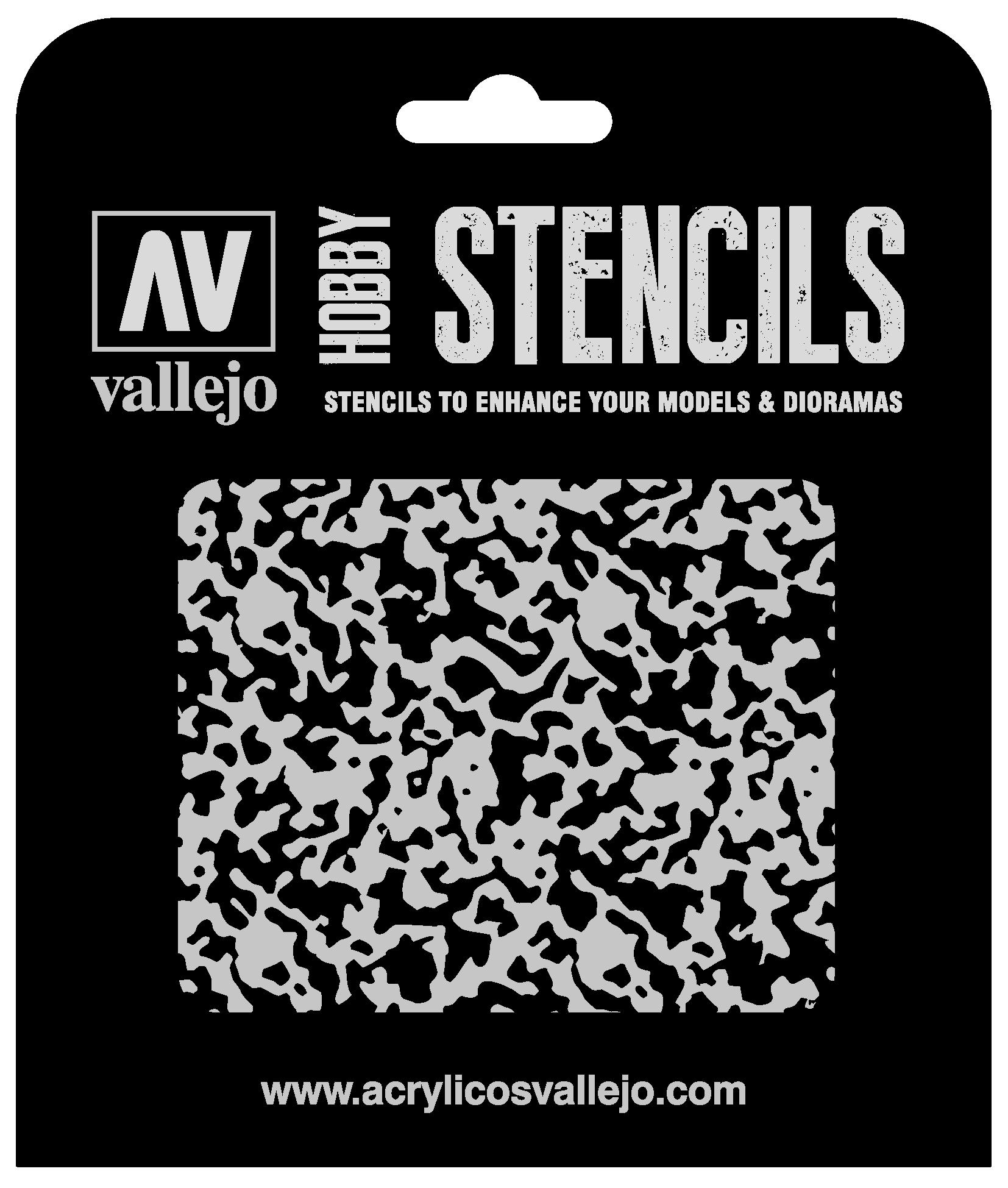 Vallejo ST-AIR001 Verwitterte Farbe 1/48 125 x 125 mm Air Markings Airbrush Schablone