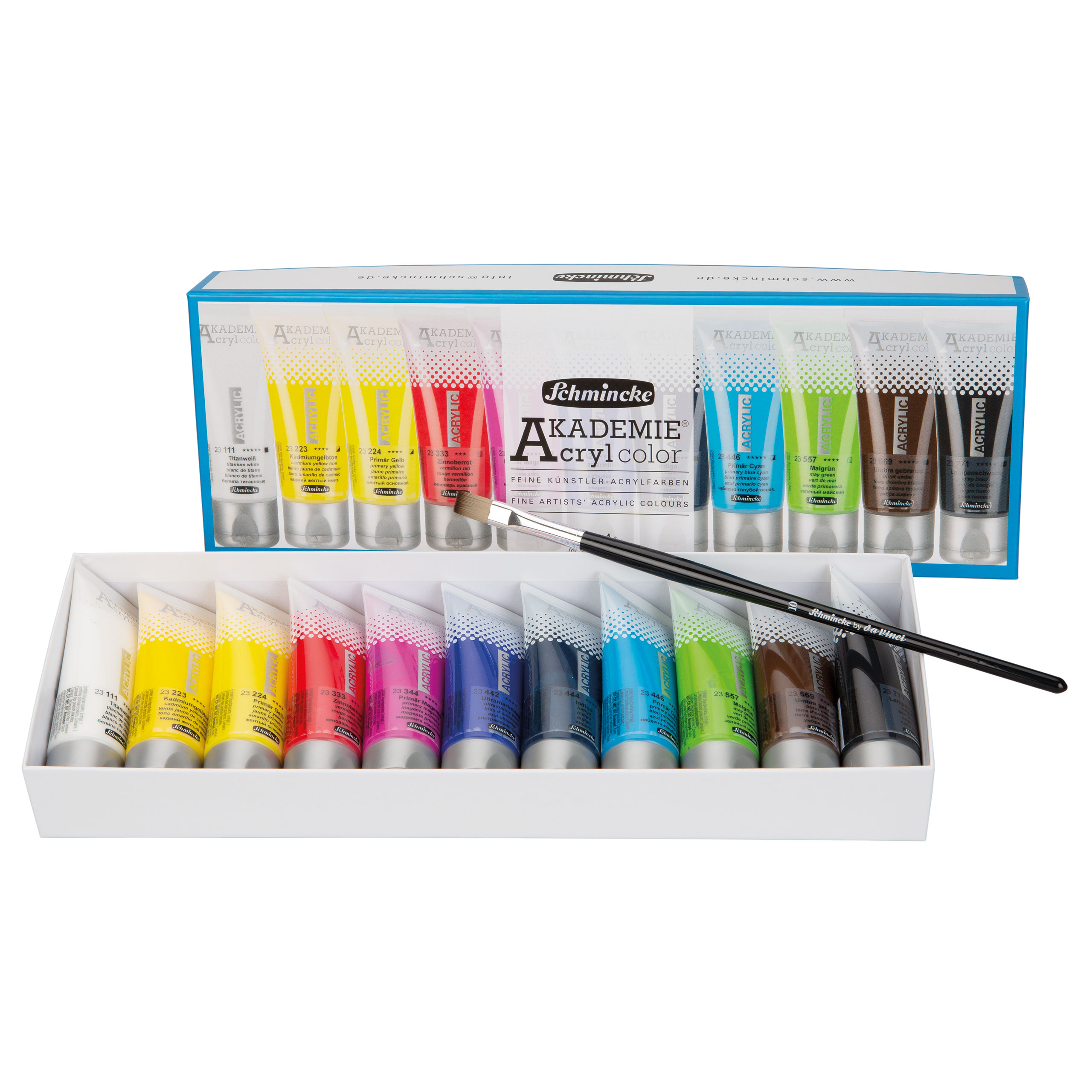 AKADEMIE Acryl Farben Set 11 x 40ml mit daVinci Pinsel Schmincke 76 752 097 ***
