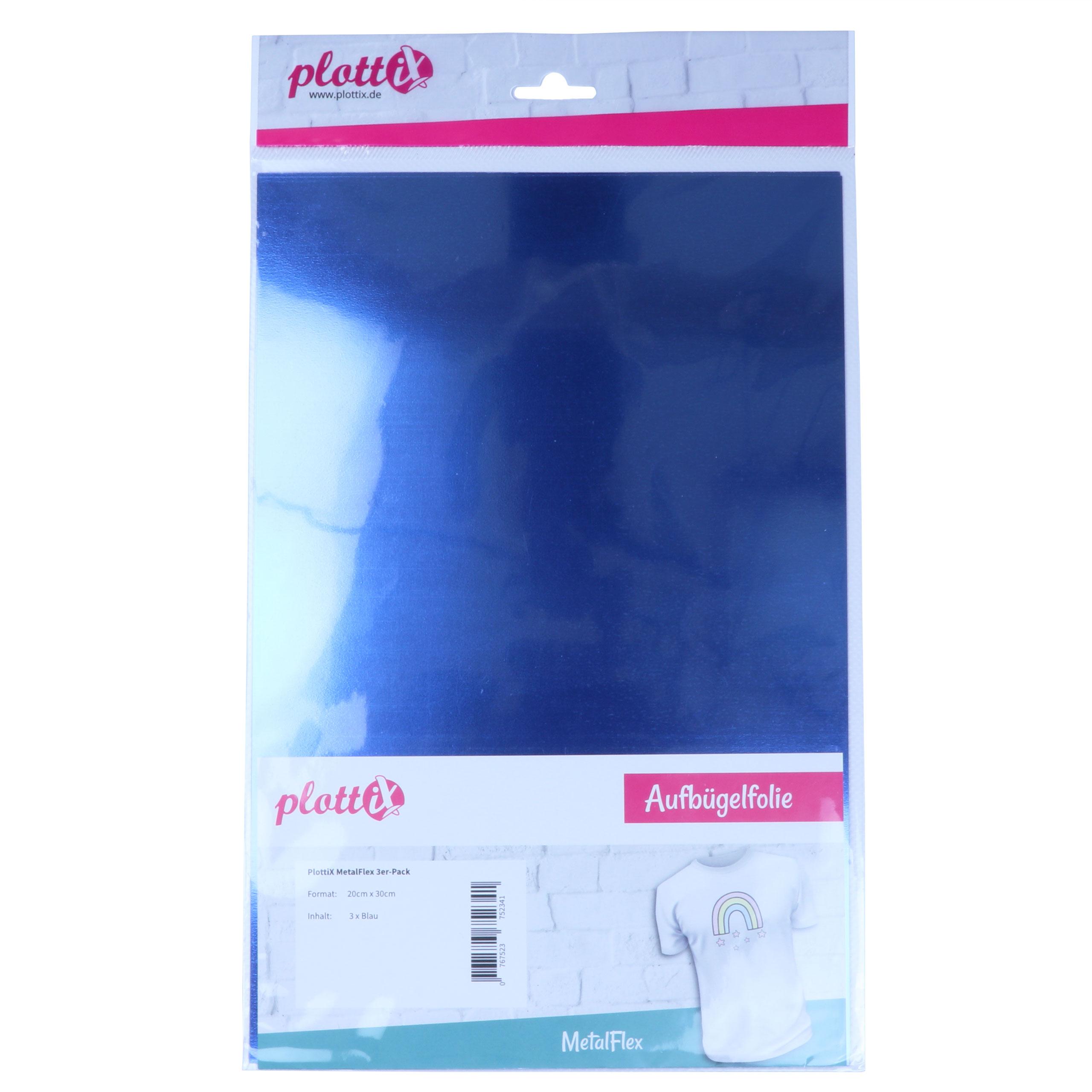 PX MetalFlex - Blau - 3 Stück 20 x 30 cm plottiX - Flexfolie mit Glanz Effekt