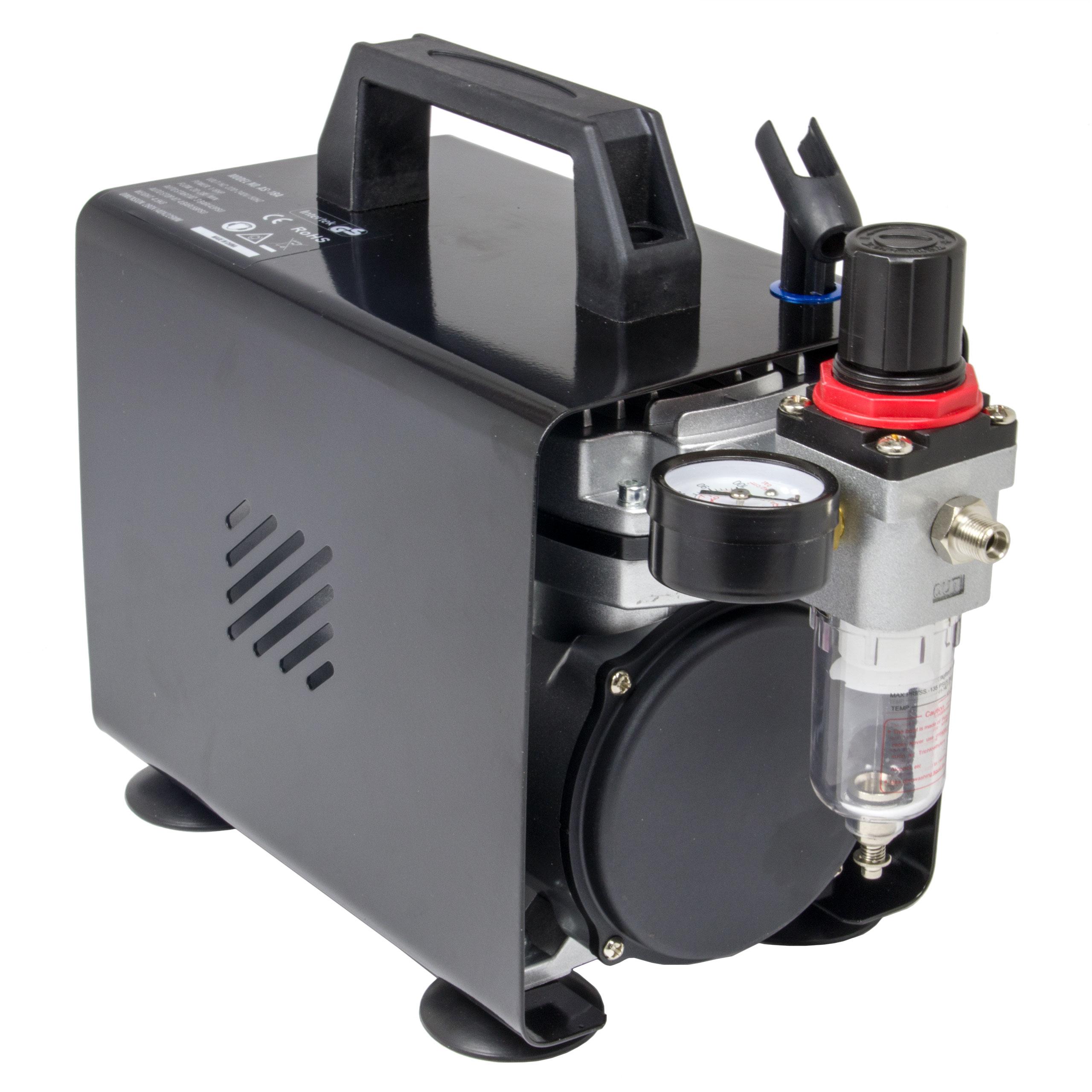 Airbrush Kompressor Saturn AS18B / AS18A kompakt mit Manometer und Druckminderer