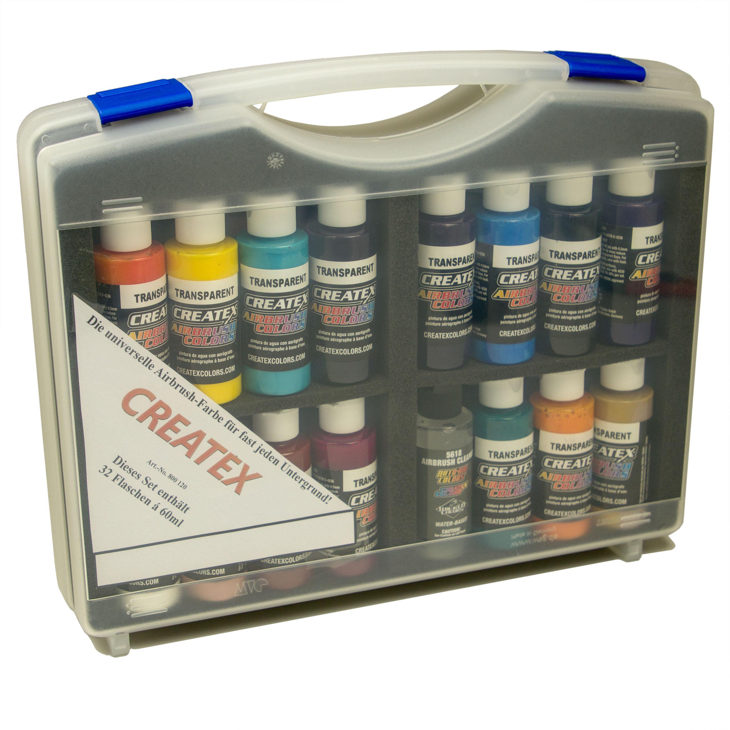 Createx Airbrush Colors Sortimentskoffer, transparente Farben 800 120