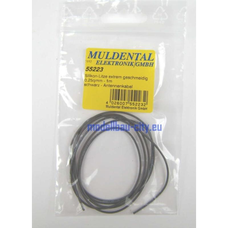 Muldental Silikon Litze 1 Meter schwarz 0,25qmm 55223