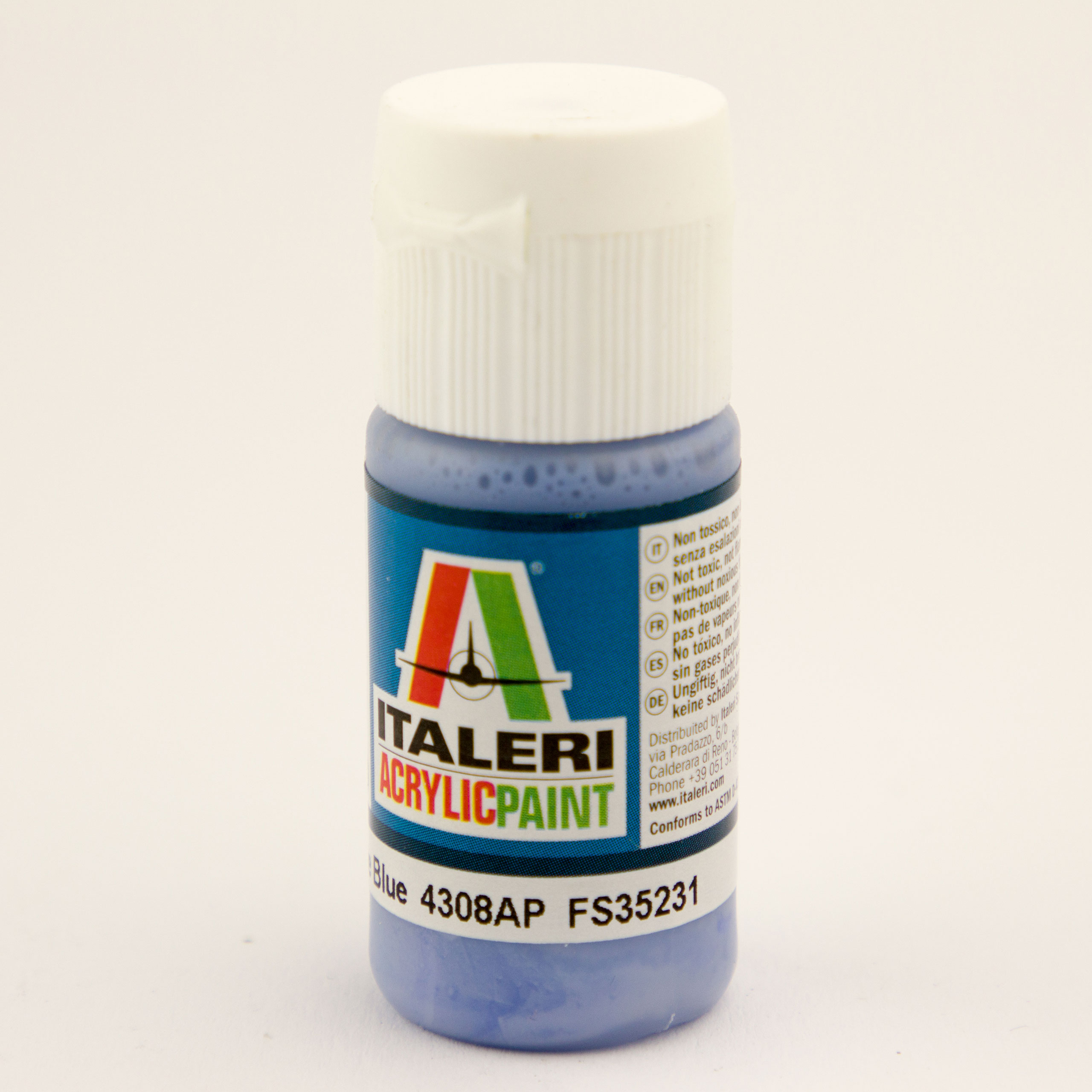 Italeri IT Acrylfarbe 4308 Azurblau matt 20 ml Airbrush Farbe