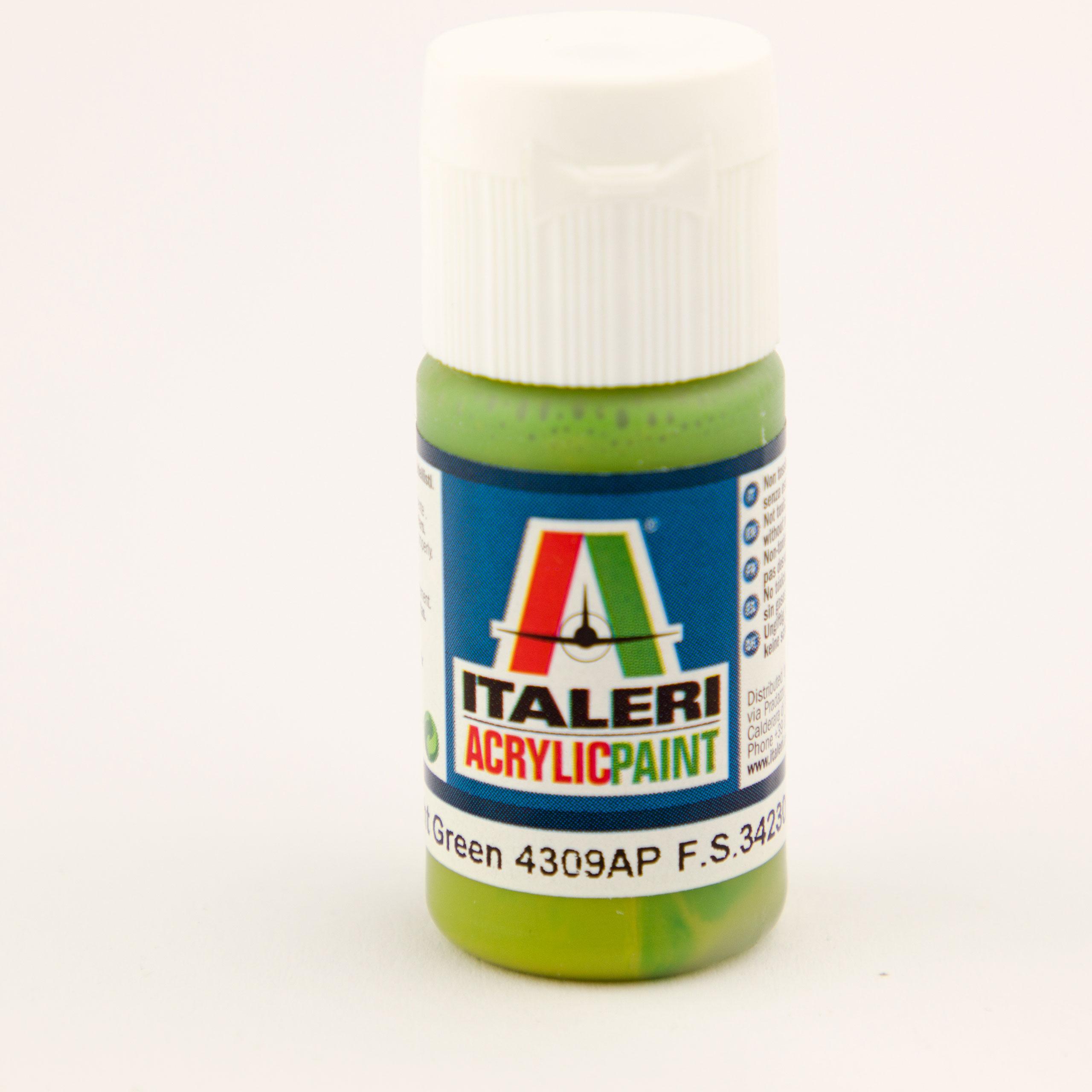 Italeri IT Acrylfarbe 4309 Hellgrün matt 20 ml Airbrush Farbe