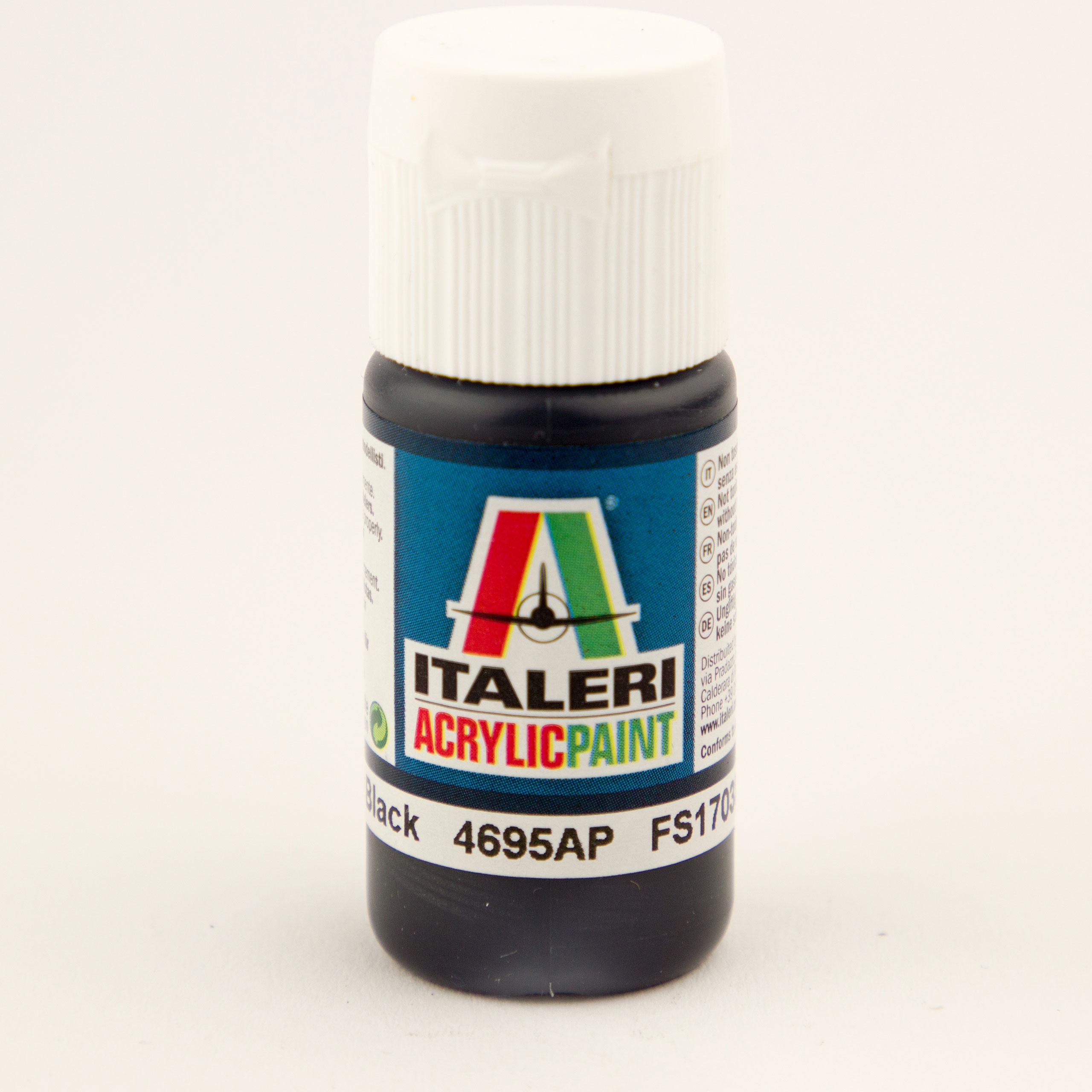 Italeri IT Acrylfarbe 4695 Schwarz glänzen 20 ml Airbrush Farbe