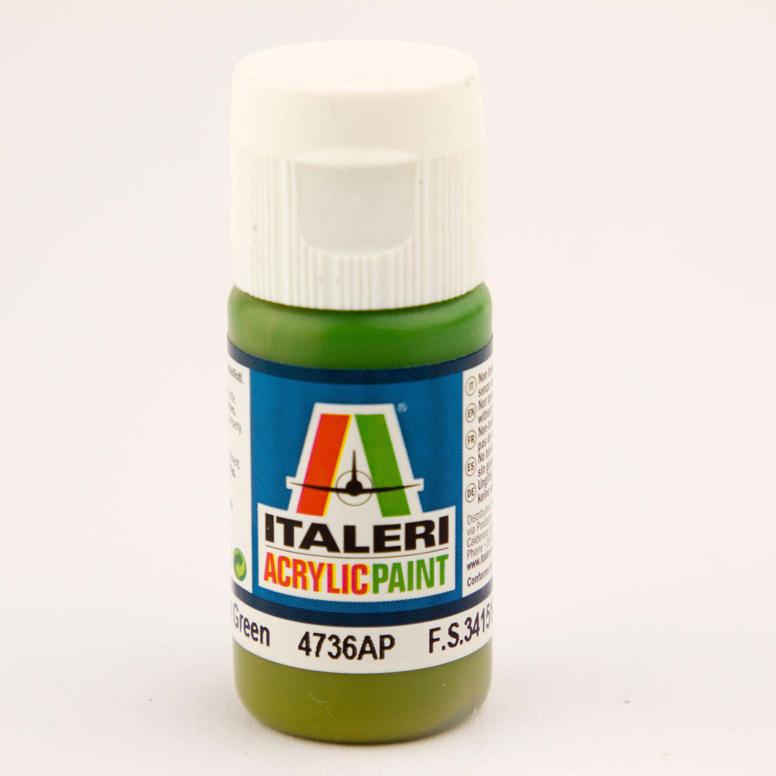 Italeri IT Acrylfarbe 4736 Interieur-Grün 20 ml Airbrush Farbe